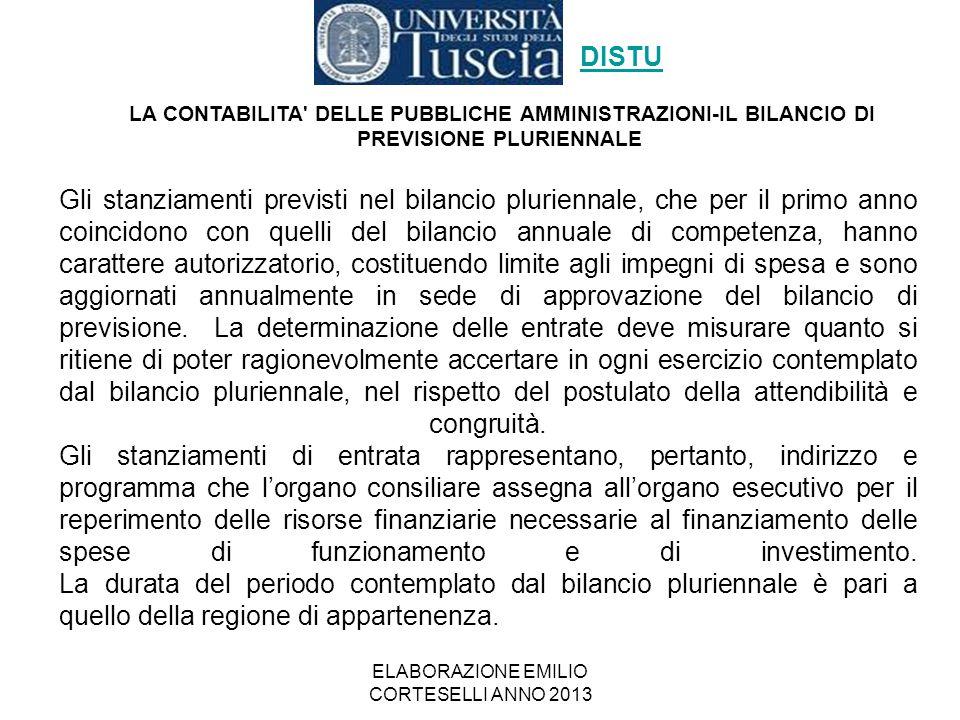 ELABORAZIONE EMILIO CORTESELLI ANNO 2013 Gli stanziamenti previsti nel bilancio pluriennale, che per il primo anno coincidono con quelli del bilancio