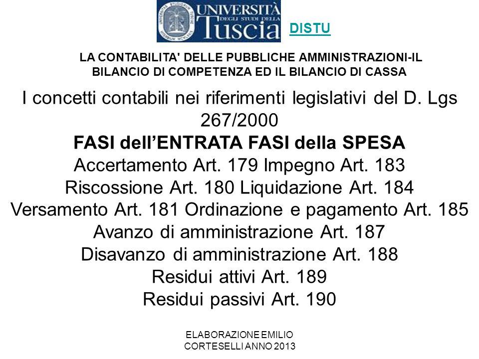 ELABORAZIONE EMILIO CORTESELLI ANNO 2013 I concetti contabili nei riferimenti legislativi del D. Lgs 267/2000 FASI dell'ENTRATA FASI della SPESA Accer