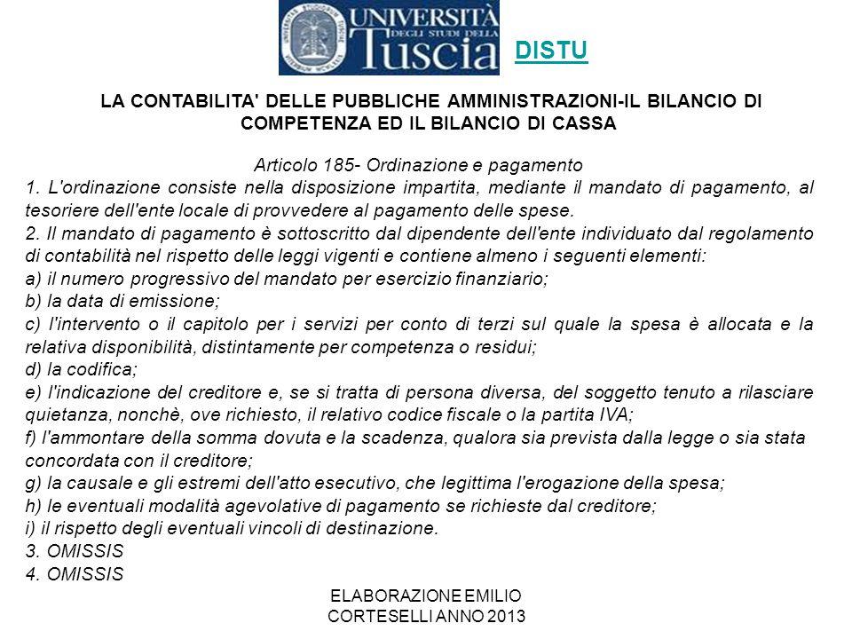 ELABORAZIONE EMILIO CORTESELLI ANNO 2013 Articolo 185- Ordinazione e pagamento 1. L'ordinazione consiste nella disposizione impartita, mediante il man