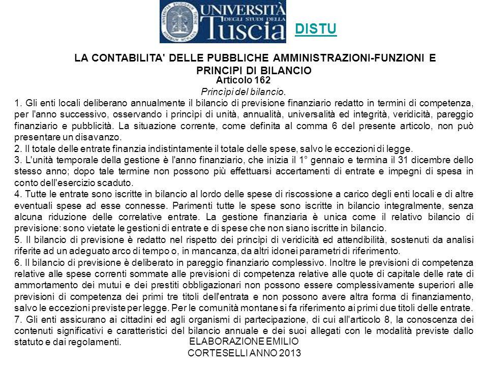ELABORAZIONE EMILIO CORTESELLI ANNO 2013 Articolo 162 Princìpi del bilancio. 1. Gli enti locali deliberano annualmente il bilancio di previsione finan