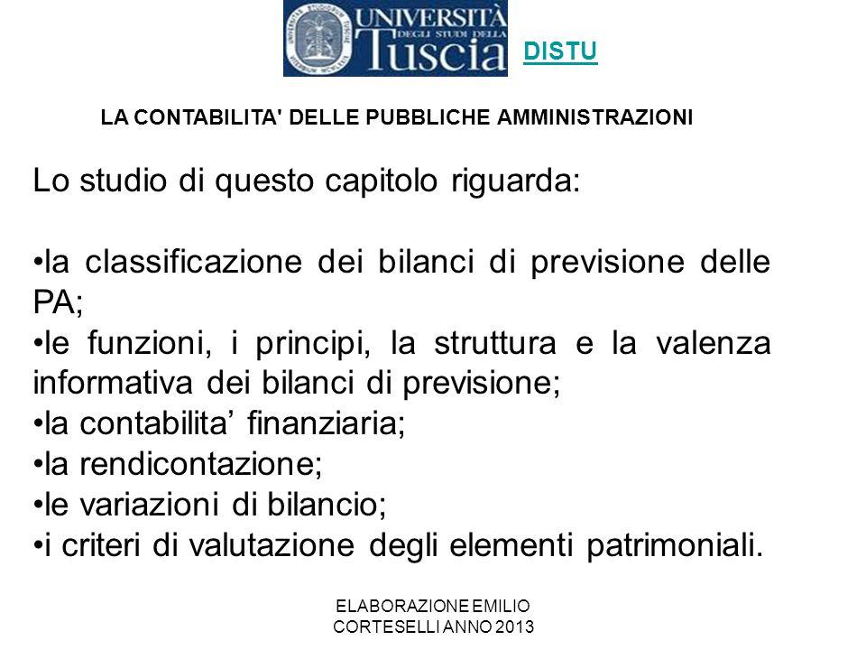 ELABORAZIONE EMILIO CORTESELLI ANNO 2013 LA CONTABILITA' DELLE PUBBLICHE AMMINISTRAZIONI DISTU Lo studio di questo capitolo riguarda: la classificazio