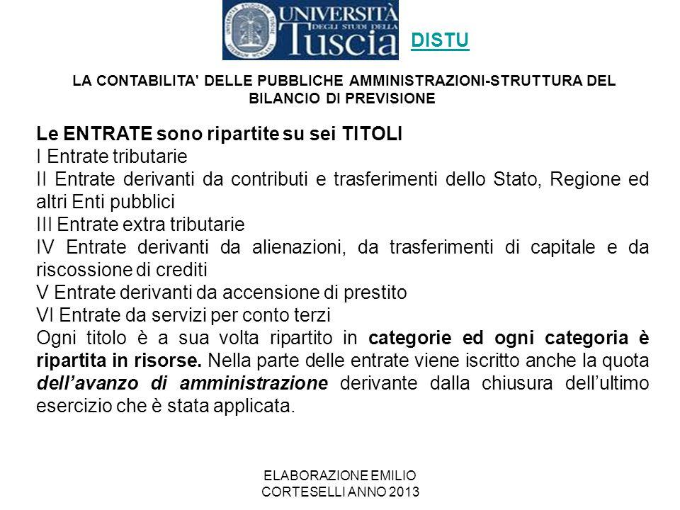 ELABORAZIONE EMILIO CORTESELLI ANNO 2013 Le ENTRATE sono ripartite su sei TITOLI I Entrate tributarie II Entrate derivanti da contributi e trasferimen