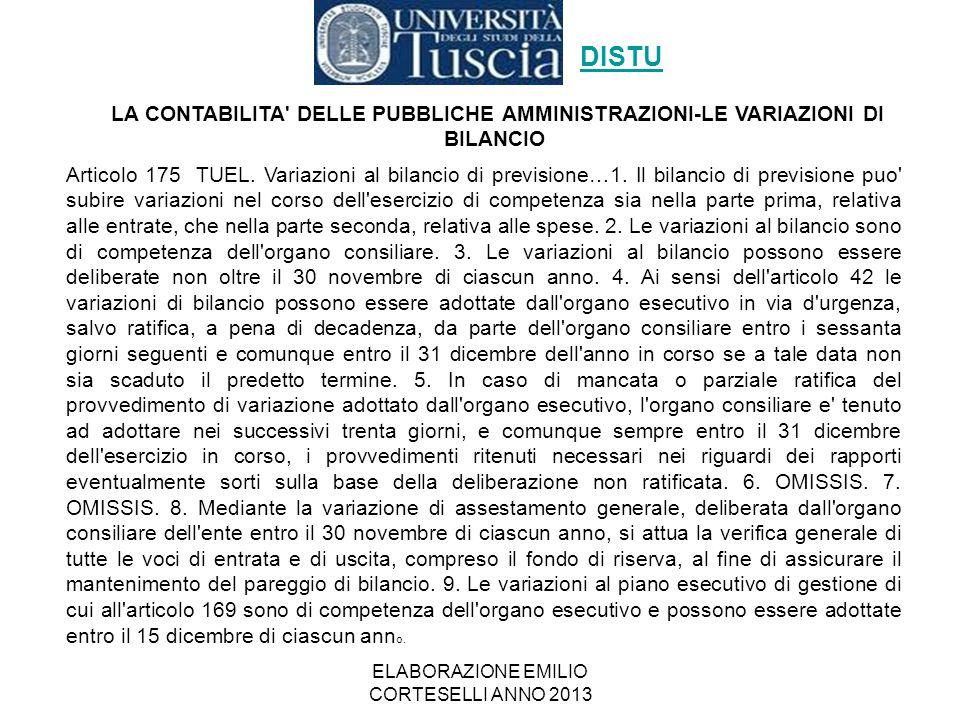 ELABORAZIONE EMILIO CORTESELLI ANNO 2013 Articolo 175 TUEL. Variazioni al bilancio di previsione…1. Il bilancio di previsione puo' subire variazioni n