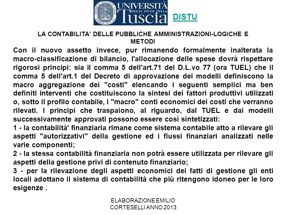 ELABORAZIONE EMILIO CORTESELLI ANNO 2013 L'organizzazione del bilancio è stabilita dal D.Lgs.
