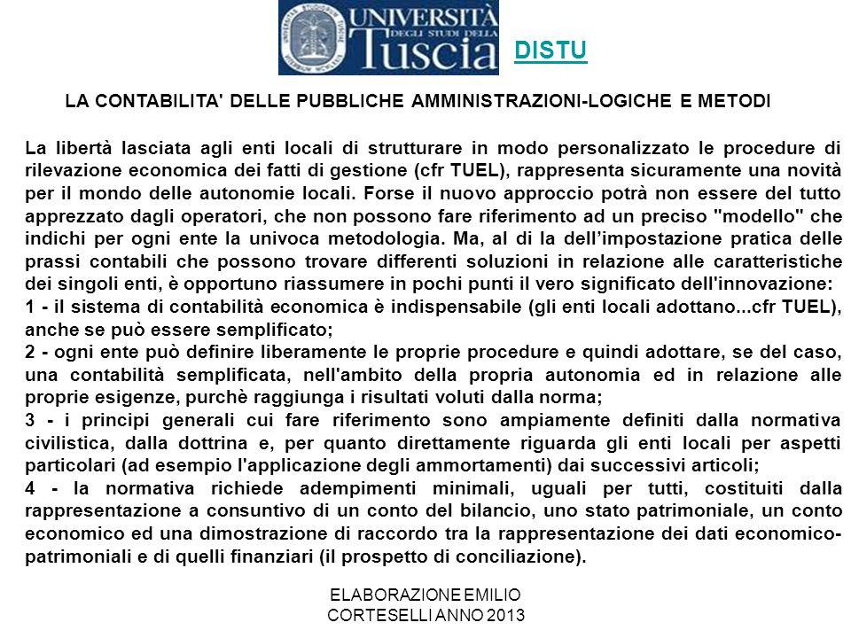 ELABORAZIONE EMILIO CORTESELLI ANNO 2013 La libertà lasciata agli enti locali di strutturare in modo personalizzato le procedure di rilevazione econom