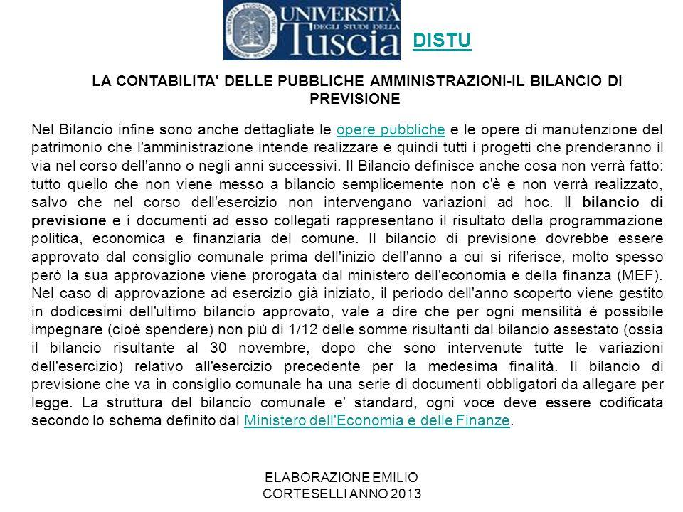 ELABORAZIONE EMILIO CORTESELLI ANNO 2013 Nel Bilancio infine sono anche dettagliate le opere pubbliche e le opere di manutenzione del patrimonio che l