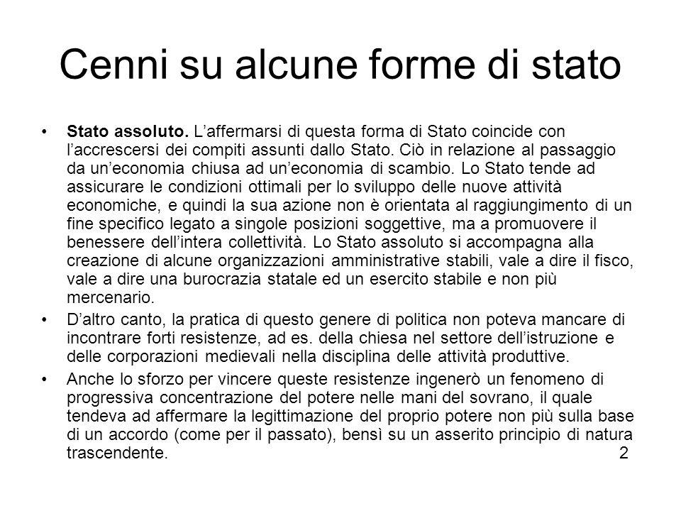 Cenni su alcune forme di stato Stato assoluto.