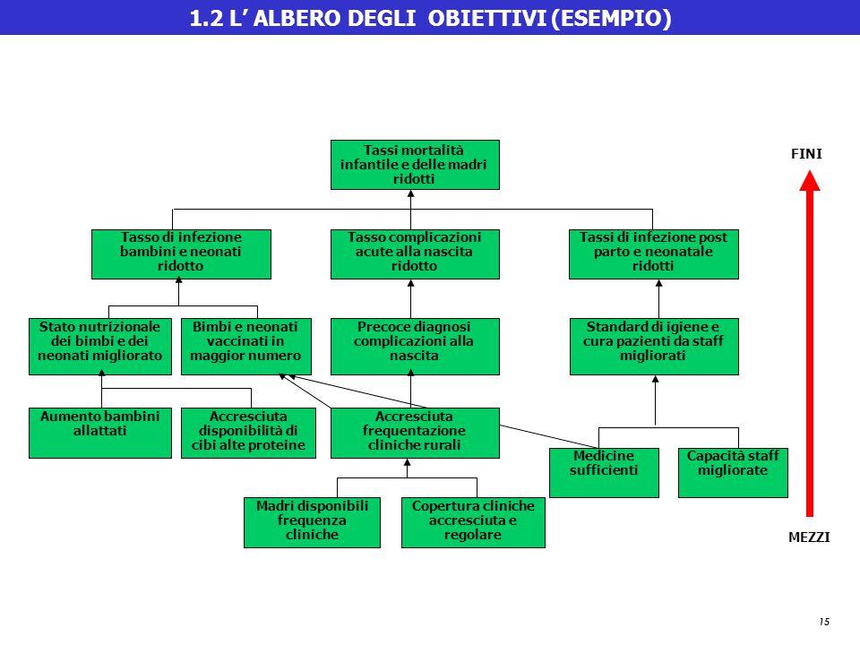15 1.2 L' ALBERO DEGLI OBIETTIVI (ESEMPIO) Madri disponibili frequenza cliniche Copertura cliniche accresciuta e regolare Medicine sufficienti Capacit