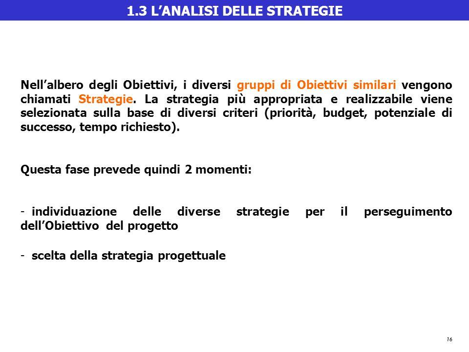 16 1.3 L'ANALISI DELLE STRATEGIE Nell'albero degli Obiettivi, i diversi gruppi di Obiettivi similari vengono chiamati Strategie.