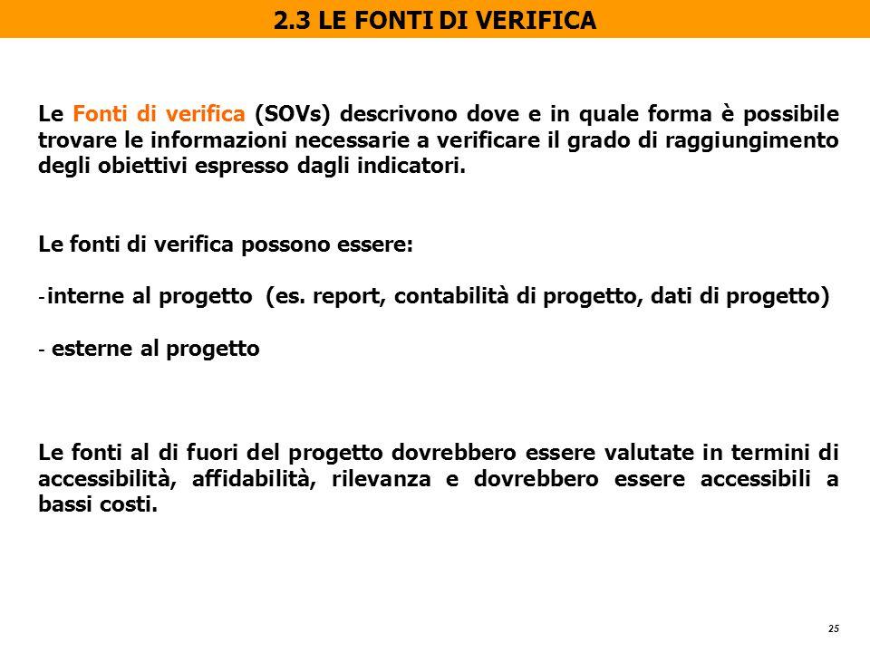 25 2.3 LE FONTI DI VERIFICA Le Fonti di verifica (SOVs) descrivono dove e in quale forma è possibile trovare le informazioni necessarie a verificare il grado di raggiungimento degli obiettivi espresso dagli indicatori.