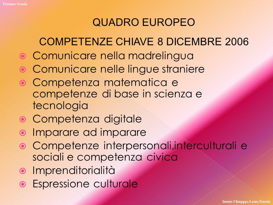 Comunicare nella madrelingua  Comunicare nelle lingue straniere  Competenza matematica e competenze di base in scienza e tecnologia  Competenza d