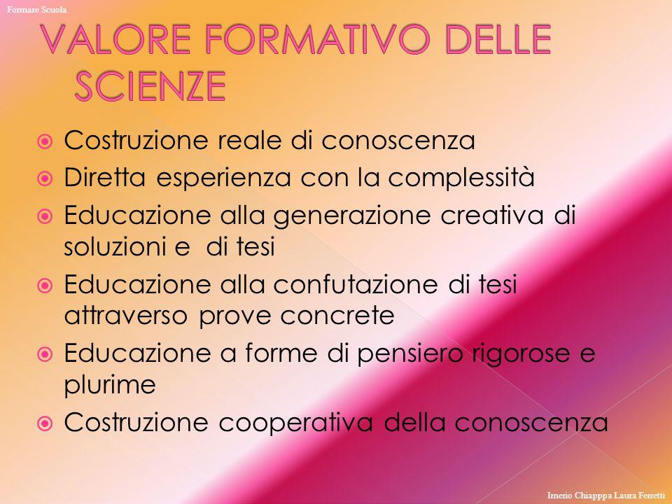  Costruzione reale di conoscenza  Diretta esperienza con la complessità  Educazione alla generazione creativa di soluzioni e di tesi  Educazione a