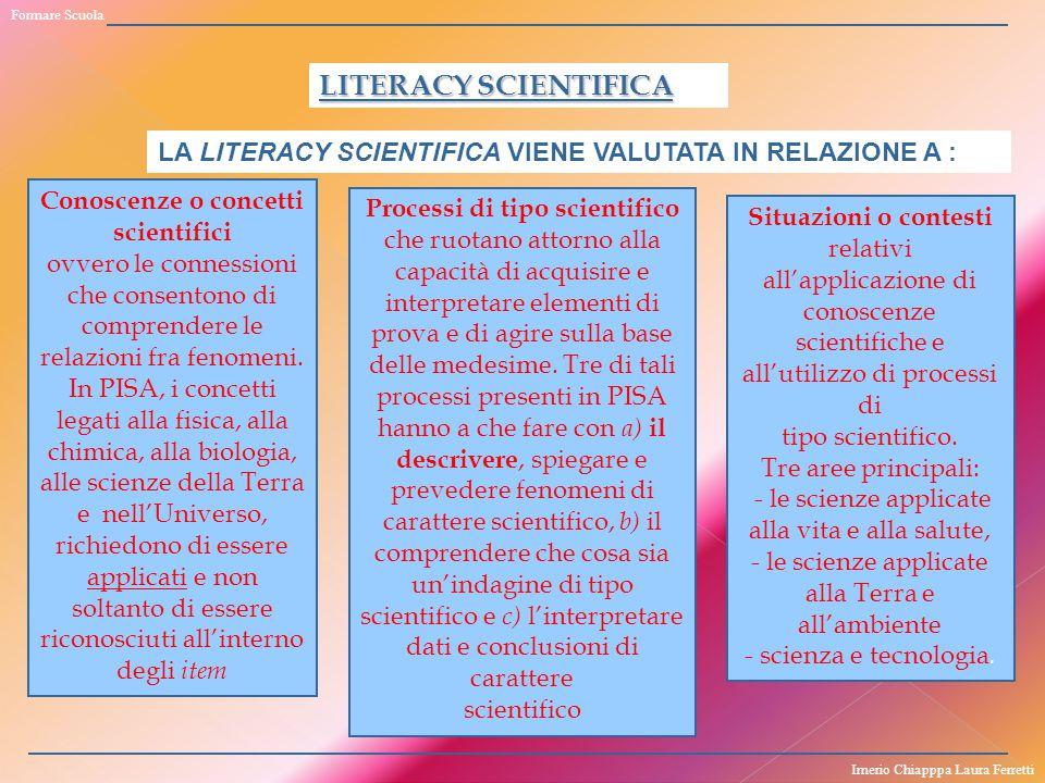 LITERACY SCIENTIFICA Conoscenze o concetti scientifici ovvero le connessioni che consentono di comprendere le relazioni fra fenomeni. In PISA, i conce