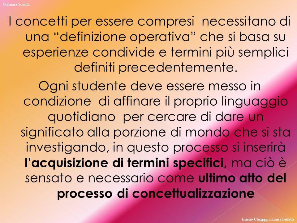 """I concetti per essere compresi necessitano di una """"definizione operativa"""" che si basa su esperienze condivide e termini più semplici definiti preceden"""