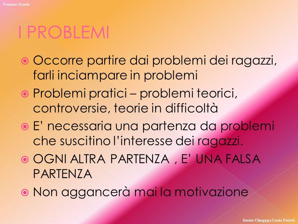  Occorre partire dai problemi dei ragazzi, farli inciampare in problemi  Problemi pratici – problemi teorici, controversie, teorie in difficoltà  E