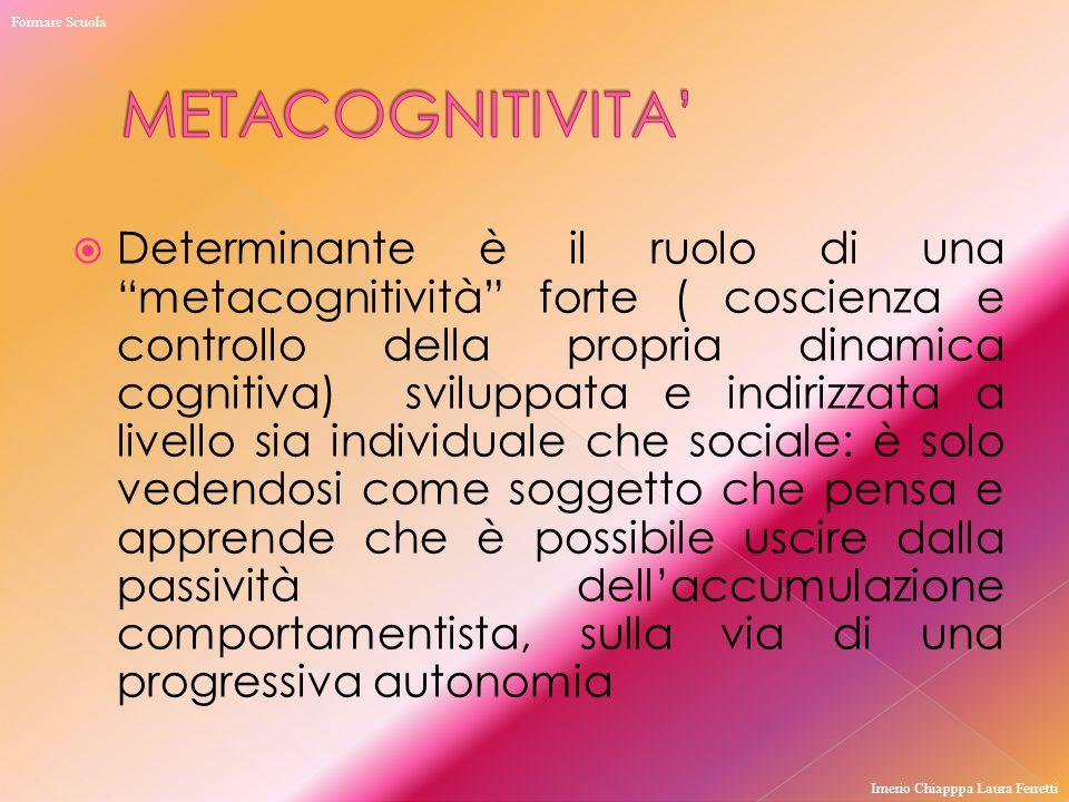 """ Determinante è il ruolo di una """"metacognitività"""" forte ( coscienza e controllo della propria dinamica cognitiva) sviluppata e indirizzata a livello"""