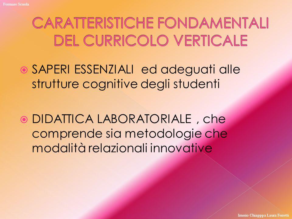  SAPERI ESSENZIALI ed adeguati alle strutture cognitive degli studenti  DIDATTICA LABORATORIALE, che comprende sia metodologie che modalità relazion