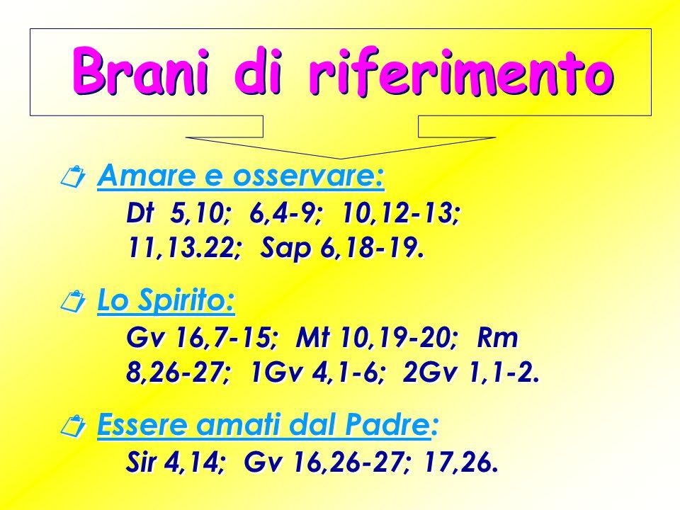  Amare e osservare: Dt 5,10; 6,4-9; 10,12-13; 11,13.22; Sap 6,18-19.