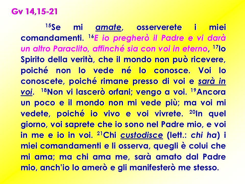 15 Se mi amate, osserverete i miei comandamenti.