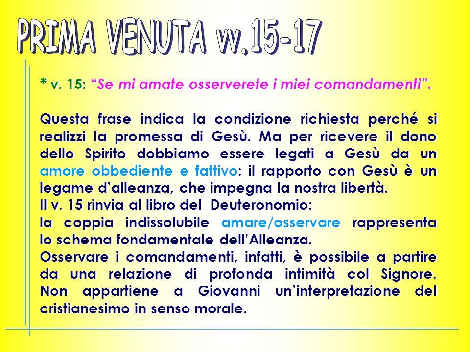 * v.15: Se mi amate osserverete i miei comandamenti .