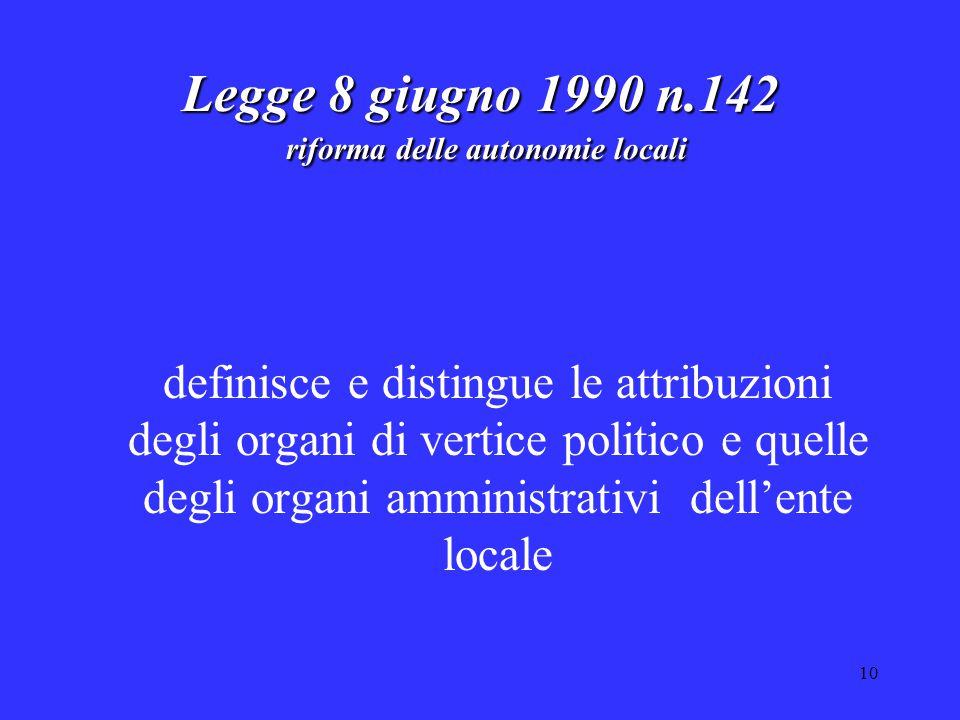 10 Legge 8 giugno 1990 n.142 riforma delle autonomie locali definisce e distingue le attribuzioni degli organi di vertice politico e quelle degli organi amministrativi dell'ente locale