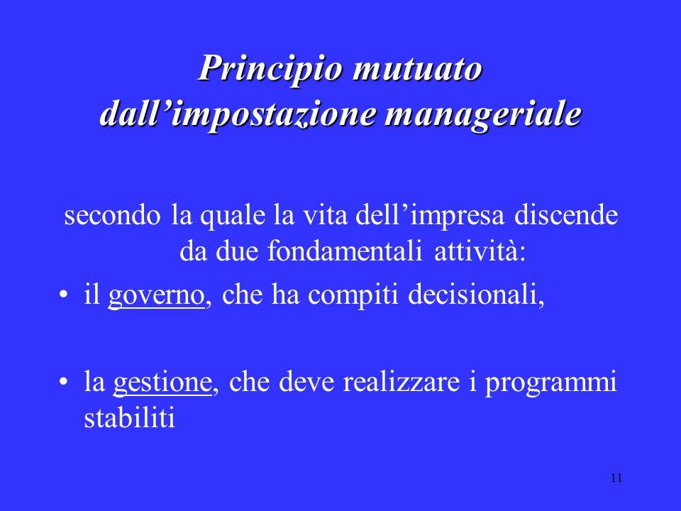 11 Principio mutuato dall'impostazione manageriale secondo la quale la vita dell'impresa discende da due fondamentali attività: il governo, che ha compiti decisionali, la gestione, che deve realizzare i programmi stabiliti