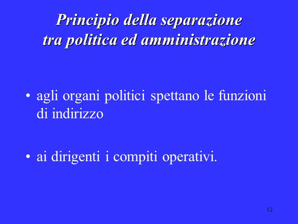12 Principio della separazione tra politica ed amministrazione agli organi politici spettano le funzioni di indirizzo ai dirigenti i compiti operativi