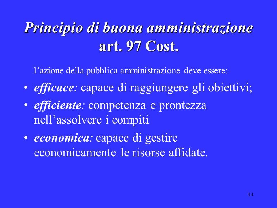 14 Principio di buona amministrazione art. 97 Cost. l'azione della pubblica amministrazione deve essere: efficace: capace di raggiungere gli obiettivi
