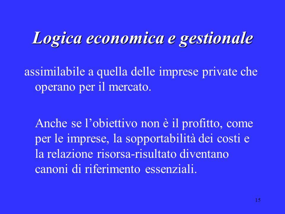 15 Logica economica e gestionale assimilabile a quella delle imprese private che operano per il mercato. Anche se l'obiettivo non è il profitto, come