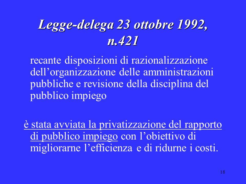 18 Legge-delega 23 ottobre 1992, n.421 recante disposizioni di razionalizzazione dell'organizzazione delle amministrazioni pubbliche e revisione della disciplina del pubblico impiego è stata avviata la privatizzazione del rapporto di pubblico impiego con l'obiettivo di migliorarne l'efficienza e di ridurne i costi.