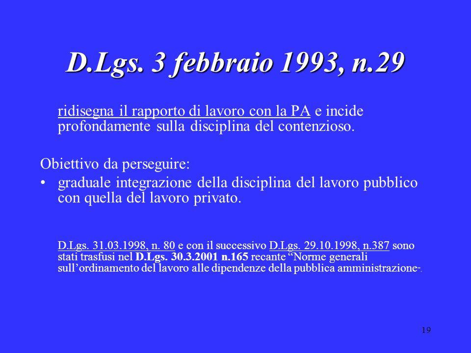 19 D.Lgs. 3 febbraio 1993, n.29 ridisegna il rapporto di lavoro con la PA e incide profondamente sulla disciplina del contenzioso. Obiettivo da perseg