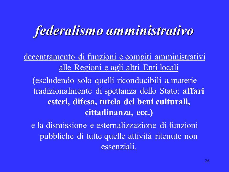 26 federalismo amministrativo decentramento di funzioni e compiti amministrativi alle Regioni e agli altri Enti locali (escludendo solo quelli ricondu