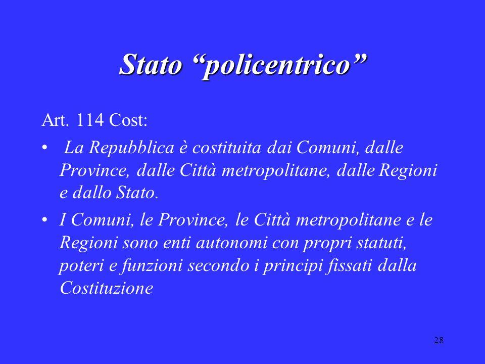 """28 Stato """"policentrico"""" Art. 114 Cost: La Repubblica è costituita dai Comuni, dalle Province, dalle Città metropolitane, dalle Regioni e dallo Stato."""