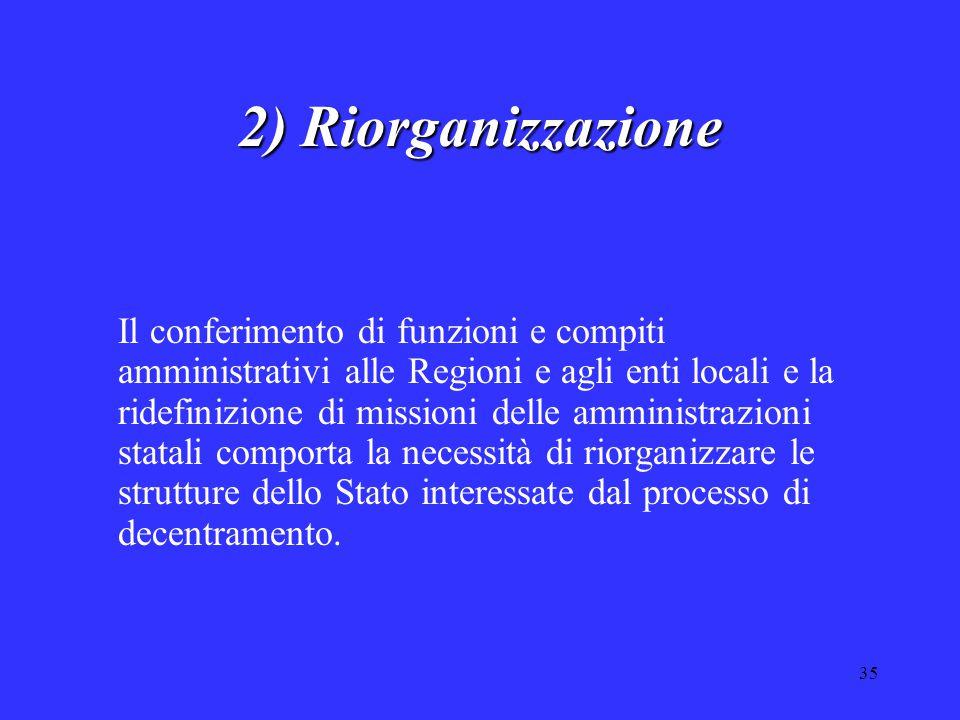 35 2) Riorganizzazione Il conferimento di funzioni e compiti amministrativi alle Regioni e agli enti locali e la ridefinizione di missioni delle ammin