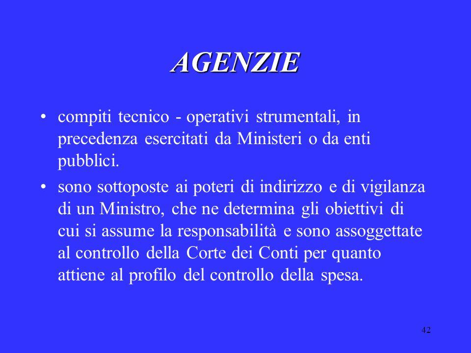 42 AGENZIE compiti tecnico - operativi strumentali, in precedenza esercitati da Ministeri o da enti pubblici.
