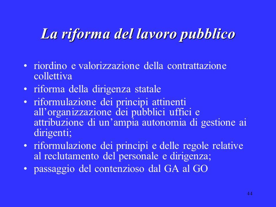 44 La riforma del lavoro pubblico riordino e valorizzazione della contrattazione collettiva riforma della dirigenza statale riformulazione dei princip