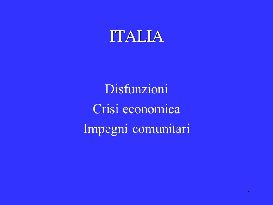 5 ITALIA Disfunzioni Crisi economica Impegni comunitari