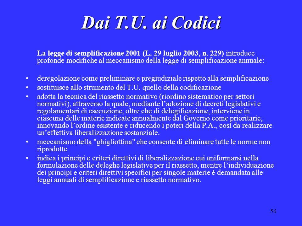 56 Dai T.U. ai Codici La legge di semplificazione 2001 (L. 29 luglio 2003, n. 229) introduce profonde modifiche al meccanismo della legge di semplific