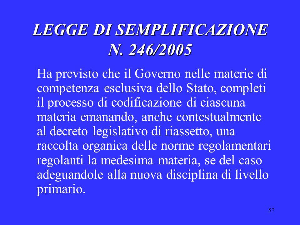 57 LEGGE DI SEMPLIFICAZIONE N. 246/2005 Ha previsto che il Governo nelle materie di competenza esclusiva dello Stato, completi il processo di codifica