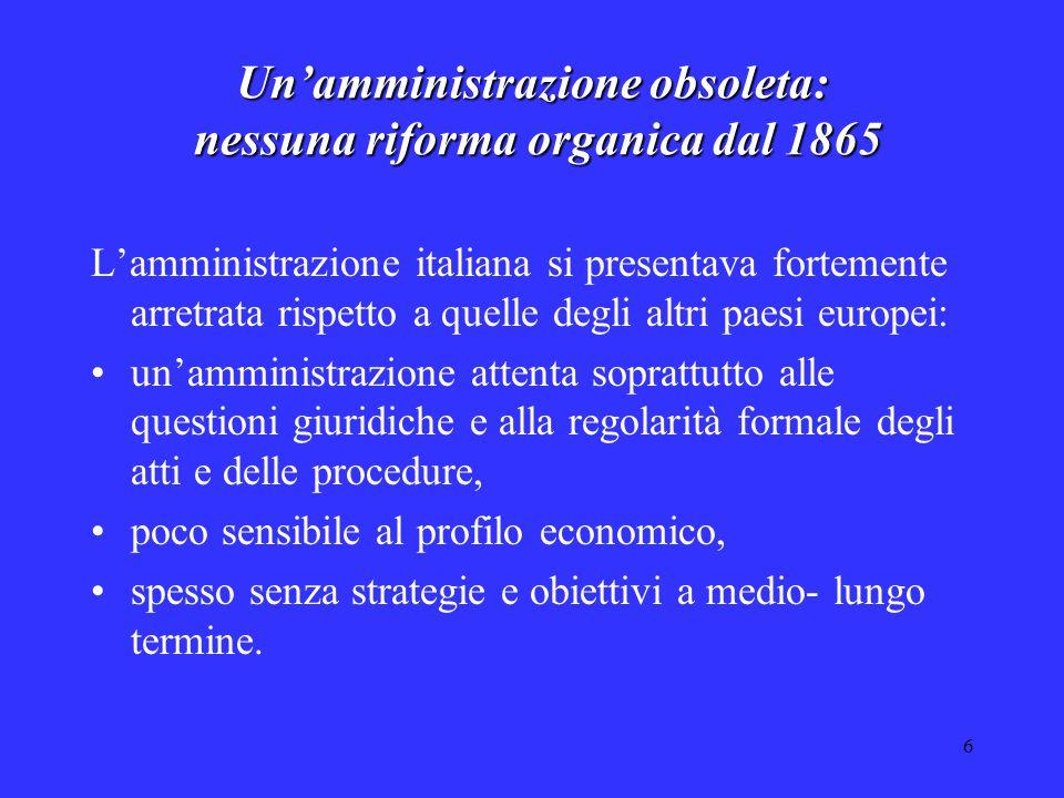 6 Un'amministrazione obsoleta: nessuna riforma organica dal 1865 L'amministrazione italiana si presentava fortemente arretrata rispetto a quelle degli