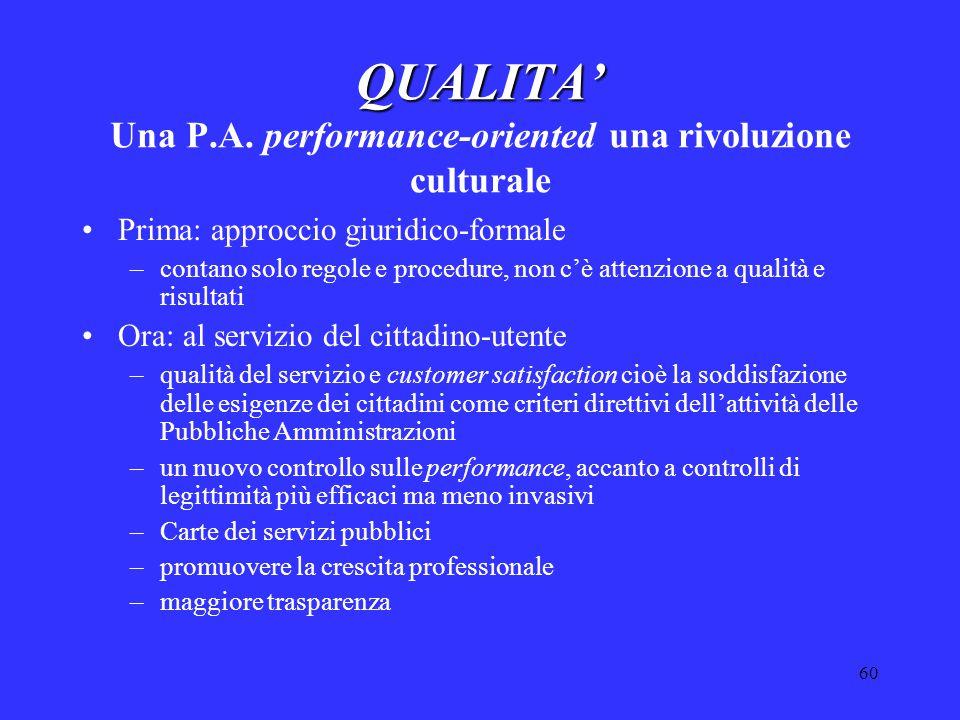 60 QUALITA' QUALITA' Una P.A. performance-oriented una rivoluzione culturale Prima: approccio giuridico-formale –contano solo regole e procedure, non