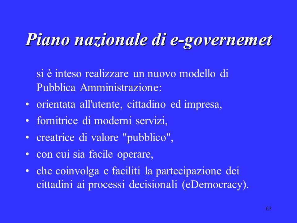 63 Piano nazionale di e-governemet si è inteso realizzare un nuovo modello di Pubblica Amministrazione: orientata all'utente, cittadino ed impresa, fo