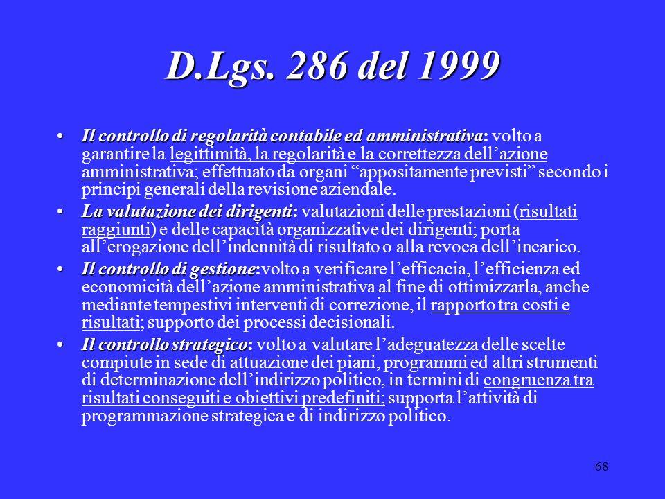 68 D.Lgs. 286 del 1999 Il controllo di regolarità contabile ed amministrativaIl controllo di regolarità contabile ed amministrativa: volto a garantire