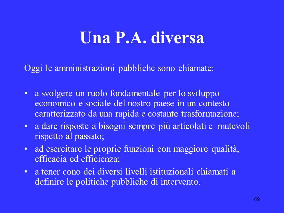 69 Una P.A. diversa Oggi le amministrazioni pubbliche sono chiamate: a svolgere un ruolo fondamentale per lo sviluppo economico e sociale del nostro p