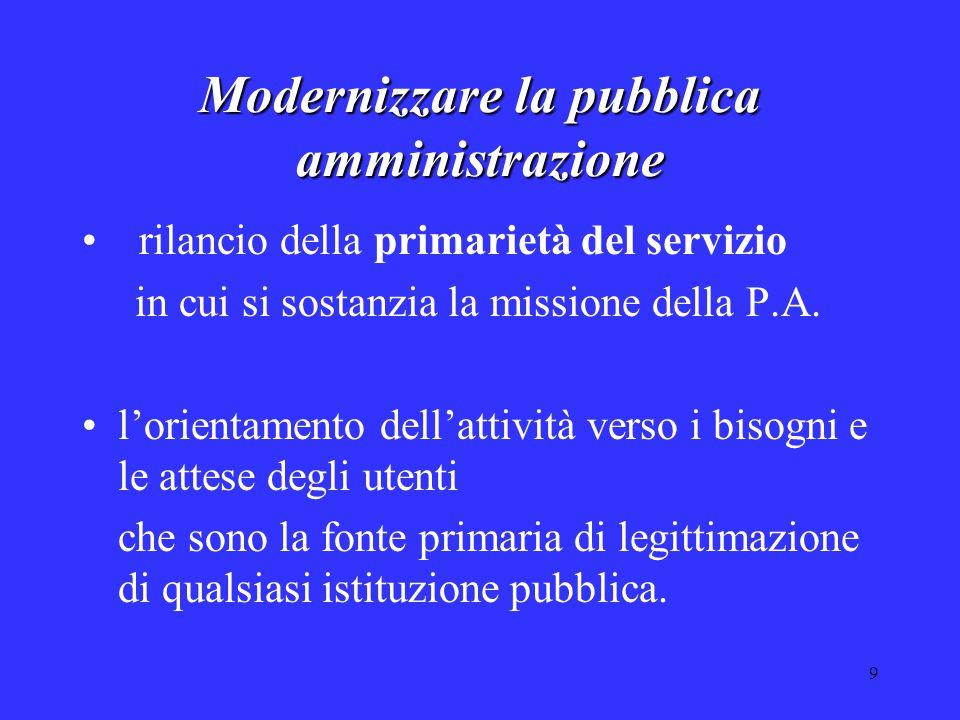 9 Modernizzare la pubblica amministrazione rilancio della primarietà del servizio in cui si sostanzia la missione della P.A. l'orientamento dell'attiv