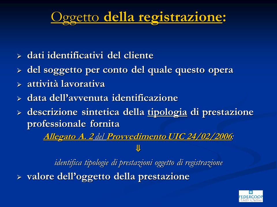 Oggetto della registrazione:  dati identificativi del cliente  del soggetto per conto del quale questo opera  attività lavorativa  data dell'avvenuta identificazione  descrizione sintetica della tipologia di prestazione professionale fornita Allegato A.