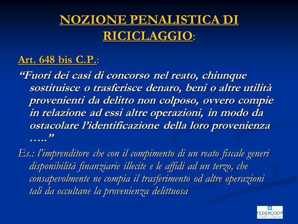 """NOZIONE PENALISTICA DI RICICLAGGIO: Art. 648 bis C.P.: """"Fuori dei casi di concorso nel reato, chiunque sostituisce o trasferisce denaro, beni o altre"""