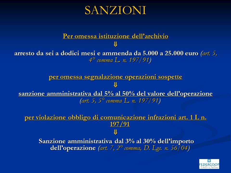 SANZIONI Per omessa istituzione dell'archivio ⇓ arresto da sei a dodici mesi e ammenda da 5.000 a 25.000 euro (art. 5, 4° comma L. n. 197/91) per omes