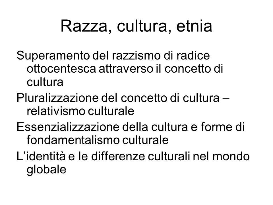 Razza, cultura, etnia Superamento del razzismo di radice ottocentesca attraverso il concetto di cultura Pluralizzazione del concetto di cultura – relativismo culturale Essenzializzazione della cultura e forme di fondamentalismo culturale L'identità e le differenze culturali nel mondo globale