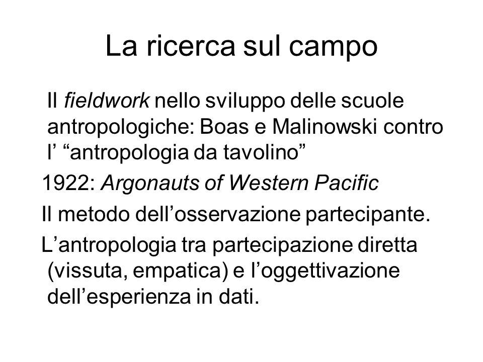La ricerca sul campo Il fieldwork nello sviluppo delle scuole antropologiche: Boas e Malinowski contro l' antropologia da tavolino 1922: Argonauts of Western Pacific Il metodo dell'osservazione partecipante.
